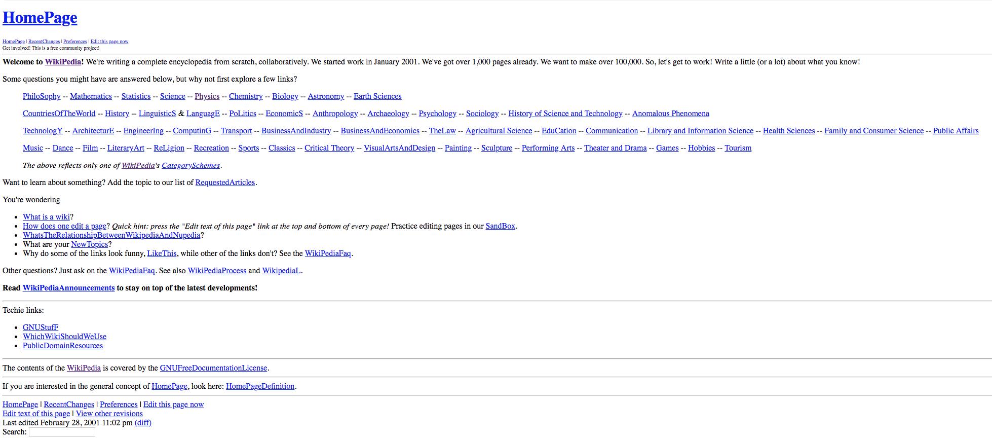 Page d'accueil de wikipedia en 2001